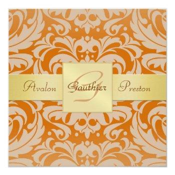 orange damask monogram gold ribbon invitation