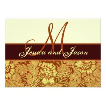 orange gold yellow damask wedding monogram invite