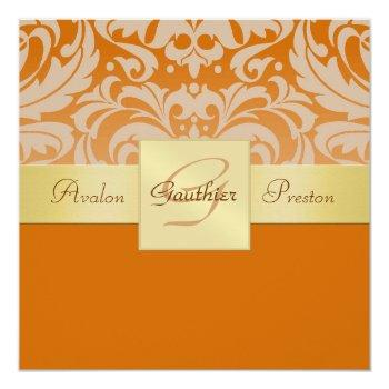 orange half damask monogram gold ribbon invitation