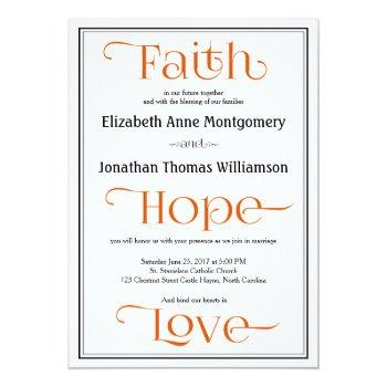 orange modern christian wedding invitations