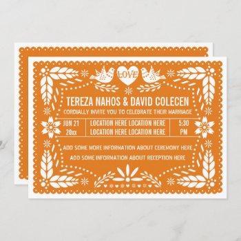 orange papel picado love birds wedding invitation