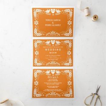 orange papel picado love birds wedding tri-fold invitation