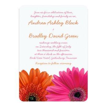 orange pink gerbera daisy wedding invitation
