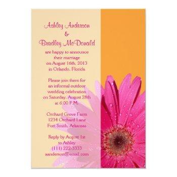 orange pink gerbera daisy wedding reception only invitation