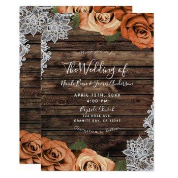 orange spice floral roses rustic wood lace wedding invitation