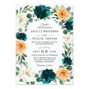 Small Orange Teal Turquoise Blue Elegant Floral Wedding Invitation Front View