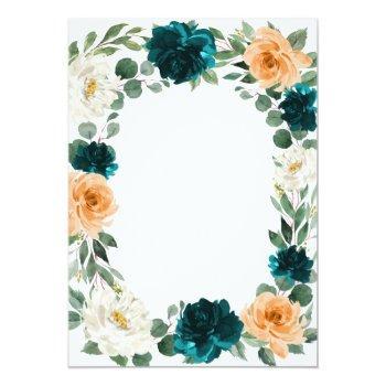 Small Orange Teal Turquoise Blue Elegant Floral Wedding Invitation Back View