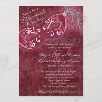 ornate burgundy silver masquerade ball wedding invitation