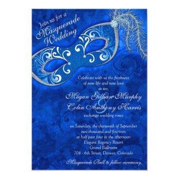 ornate cobalt blue silver masquerade ball wedding invitation