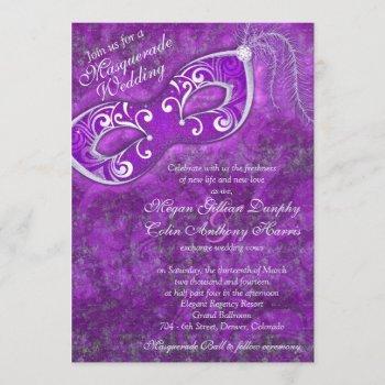 ornate purple silver masquerade ball wedding invitation