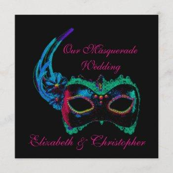"""""""our masquerade wedding"""" - blue and pink invitation"""