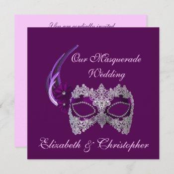 """our masquerade wedding"" - royal purple mask [b] invitation"