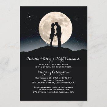 over the moon starry night wedding invitation