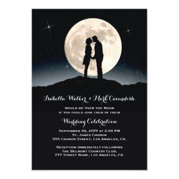 over the moon starry night wedding invitation