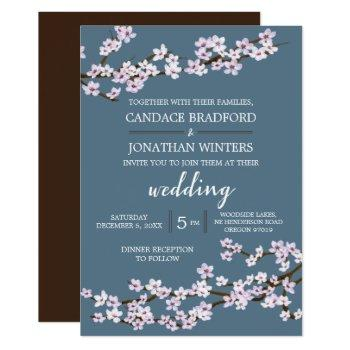 painted cherry blossoms wedding invitation