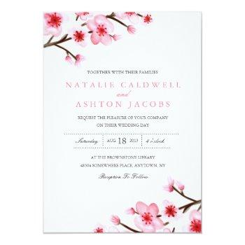 painted cherry blossoms wedding invite