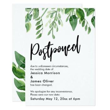 painted greenery postponed wedding announcement