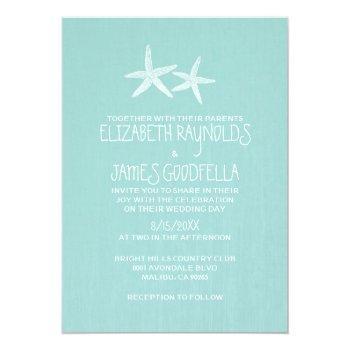 pair of starfish wedding invitations