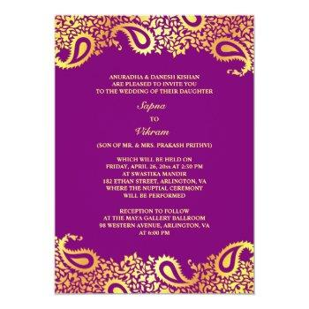 paisleys elegant indian wedding flat invitation