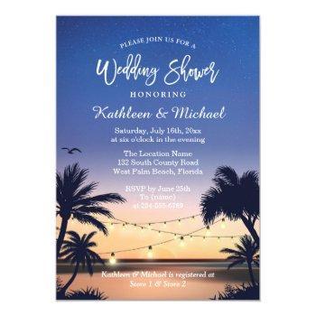 palm beach sunset string lights wedding shower invitation