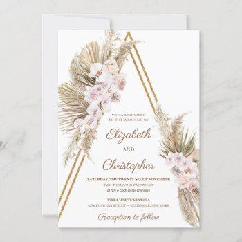 pampas grass dried palm dusty rose orchid wedding invitation