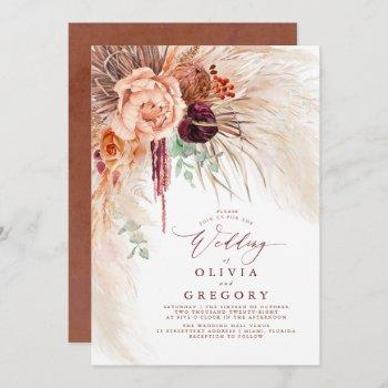pampas grass floral burgundy terracotta wedding invitation