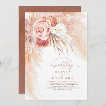 pampas grass floral terracotta wedding invitation