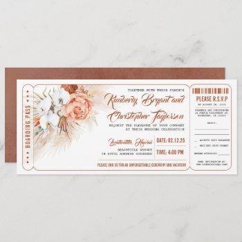pampas grass terracotta floral wedding ticket invitation