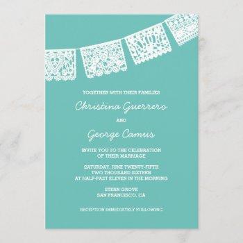 papel picado aqua   wedding invitation