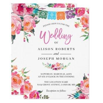 papel picado bloom flowers mexican style wedding invitation