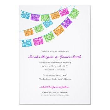 papel picado colorful wedding invite