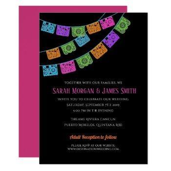 papel picado destination wedding fiesta invitation