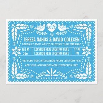 papel picado love birds blue wedding invitation