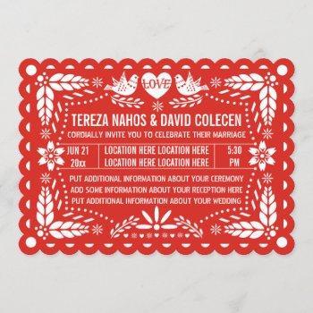 papel picado love birds red mexican fiesta wedding invitation