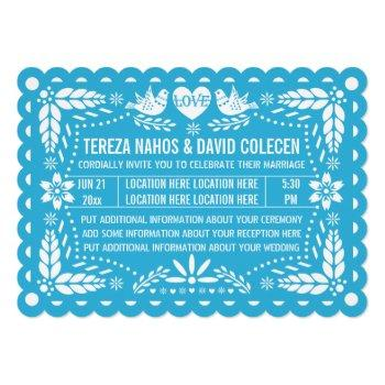 papel picado style love birds blue fiesta wedding invitation