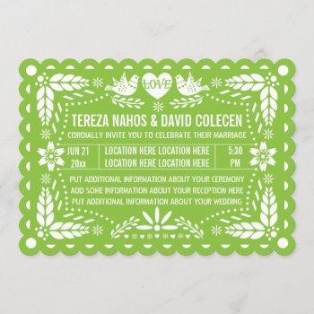 papel picado style love birds green fiesta wedding invitation