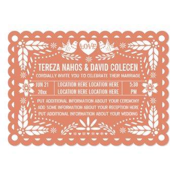 papel picado style love birds peach fiesta wedding invitation