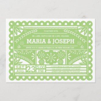 papel picado wedding invite - green