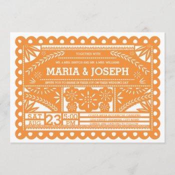papel picado wedding invite - orange
