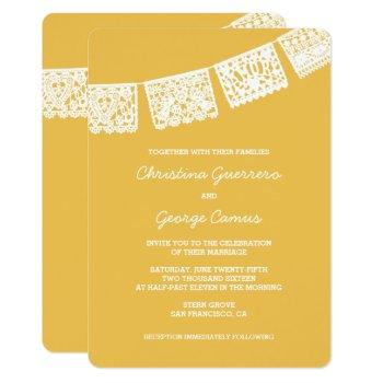 papel picado yellow | wedding invitation