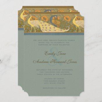 parade art nouveau peacock bird wedding invitation