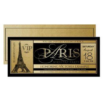 paris birthday party invitation ticket invitations
