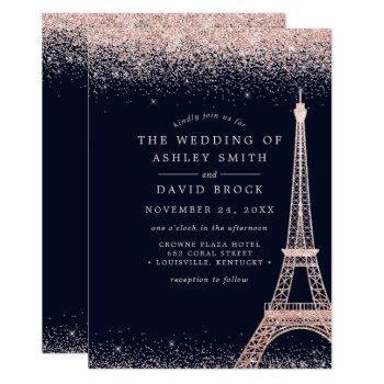 paris eiffel tower rose gold confetti navy wedding invitation