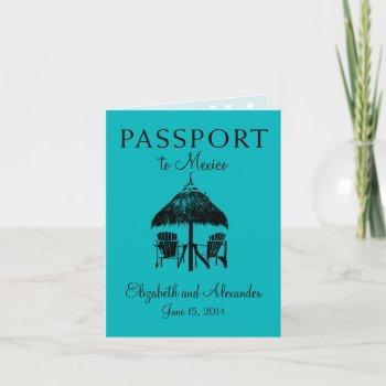 passport to cancun mexico wedding invitation