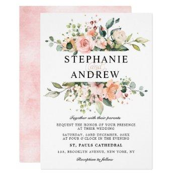 pastel pink blush rose floral botanical wedding invitation
