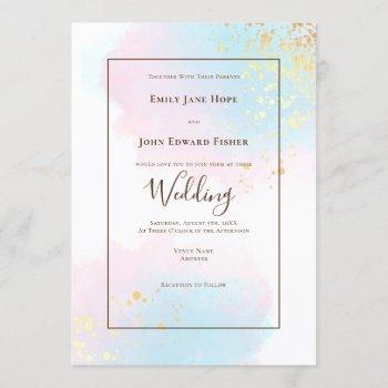 pastel pink teal watercolor gold splashes wedding invitation