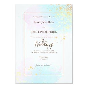 Small Pastel Pink Teal Watercolor Gold Splashes Wedding Invitation Front View