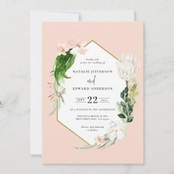 pastel tropical+ gold geometric wedding invitation