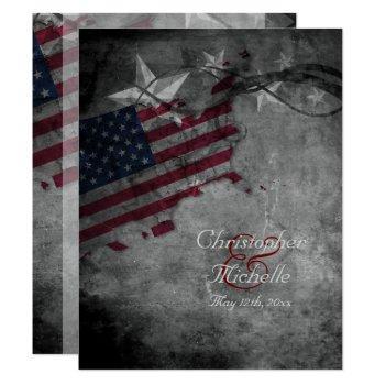 patriotic us american flag and stars wedding invitation