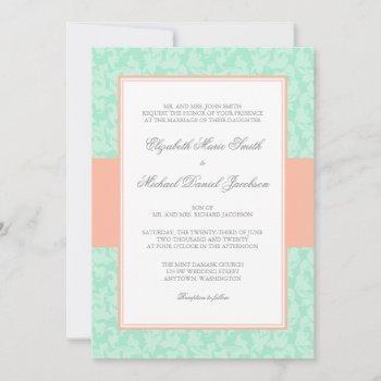 peach and mint damask swirl wedding invitation